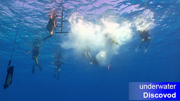 Thumbnail for Group of Divers Preparing to Dive