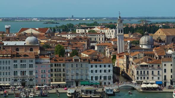 Thumbnail for Antique Architecture of Venice, View of Buildings and Tourists Walking on Bridge