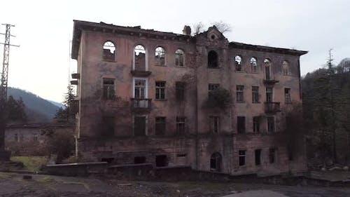 Old brick destroyed building