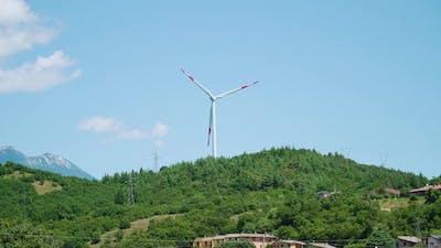 Wind Turbine Runs on the Green Hill