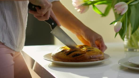 Thumbnail for Woman Cutting Sweet Pie