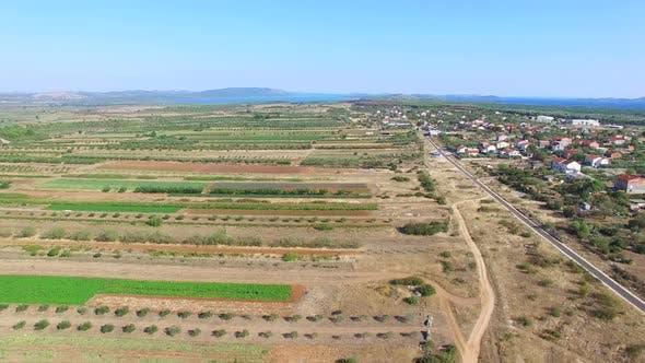 Luftaufnahme der Landwirtschaft in Dalmatien, Kroatien