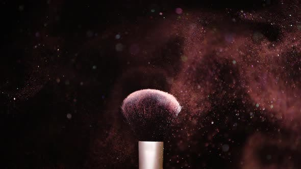 Thumbnail for Colour Paint Concept, Make Up Brush with Powder Slow Motion