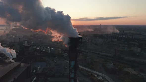 Thumbnail for Aerial View. High Chimney Pipe with Grey Smoke. Concept of Environmental Pollution, Climate Change