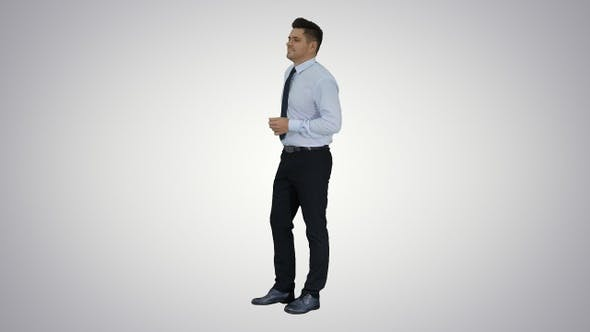 Thumbnail for Businessman is counting money on gradient background.