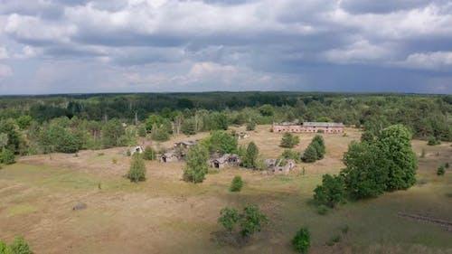 Drone Flight Near Ruins of Farm in Chernobyl Zone