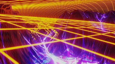 Retro Futuristic Cosmos Galaxy Planet with Neon