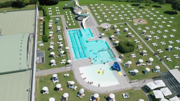 Open Air Pubblic Swimming Pool Aerial View