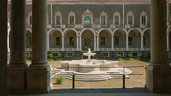Thumbnail for CATANIA, SICILY, ITALY - SEPT, 2019: Courtyard in the Center of Palace with the Fountain in Italy
