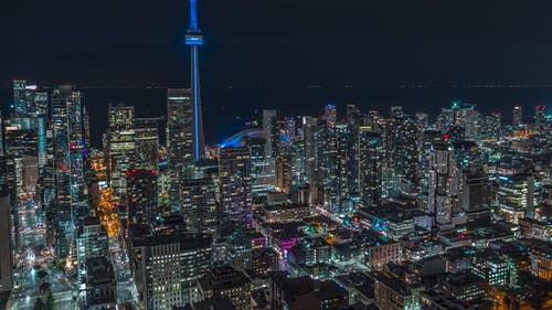 Downtown Toronto Night Time Lapse Of Traffic An Cn Tower