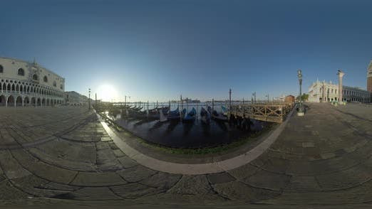 Thumbnail for 360 VR Riva Degli Schiavoni Waterfront, Scene in Early Morning in Venice, Italy