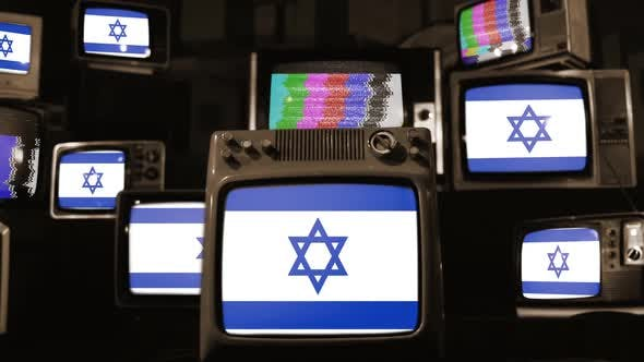 Thumbnail for Israel flags and retro Televisions.