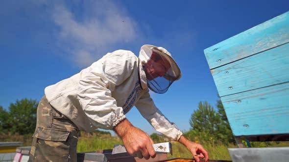 Beekeeper against blue sky
