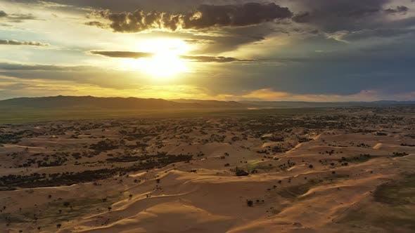 Thumbnail for Sand Dunes in Desert at Sunset in Mongolia