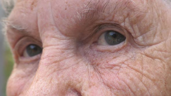 Thumbnail for Close Up Gray Eyes of Elderly Woman with Wrinkles Around Them. Portrait of Grandmother