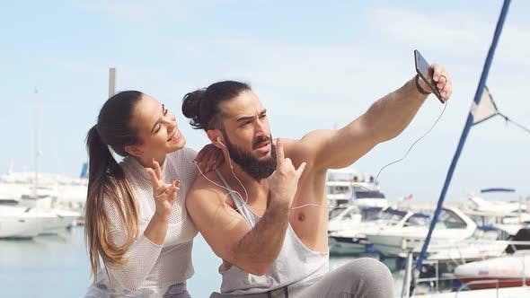 Thumbnail for Sportive Couple on Seaside Summer Vacation, Taking Selfie Photo