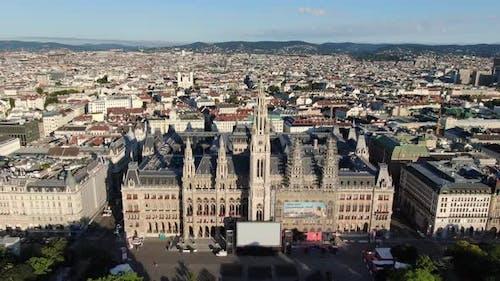 Aerial view of Vienna City Hall, Austria, Europe