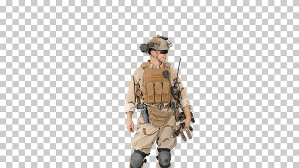 Young USA ranger standing in a casual, Alpha Channel