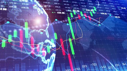 Digital Stock Market Or Forex Trading Graph And Candlestick Chart 00712