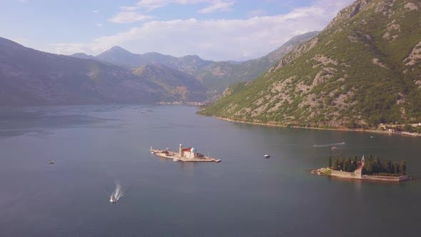 Cover Image for Aerial Footage of St. George and Monastery on the Islands Near Perast Town in Kotor Bay