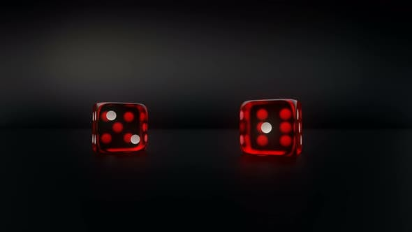 Thumbnail for Pair Of Red Glass Casino Dice Roll Slow Motion Result Six And Two