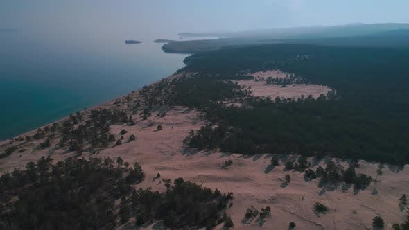 Aerial View of Sand Dunes Baikal Beach and Crystal Clean Water of Baikal Lake
