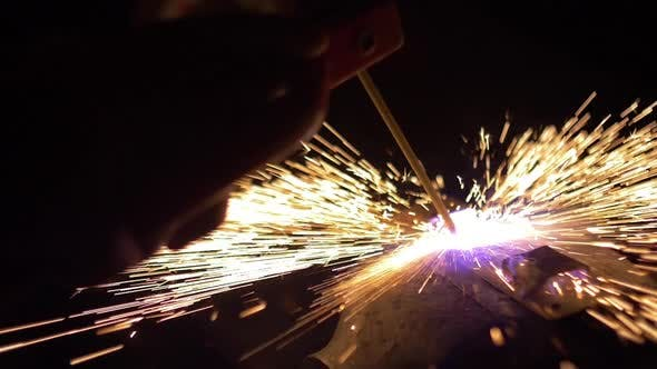 Welding Sparks Slow Motion