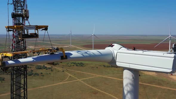 Thumbnail for Construction Workers Are Assembling a Wind Turbine, High Altitude Work,