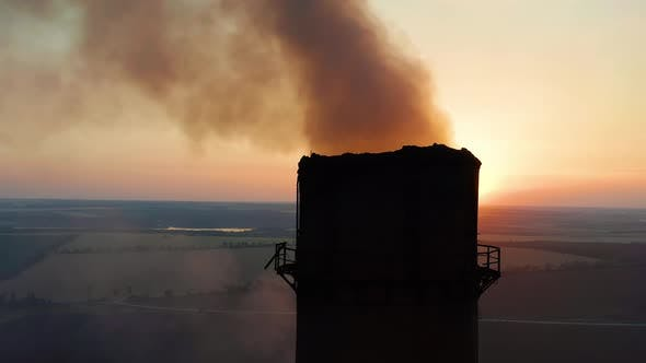 Thumbnail for Aerial View. Emission To Atmosphere From Industrial Pipes. Smoking Chimney