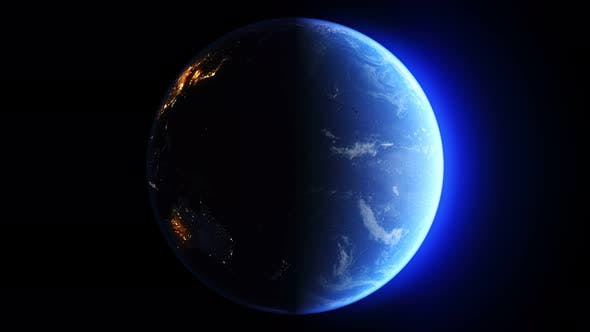 Thumbnail for Blue Earth Day Vs Night Sun From East Seamless Loop