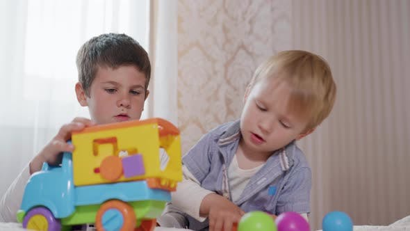 Thumbnail for Handsome Caring Male Child Playing with His Little Cute Brother a Developmental Toy, a Colored Palm