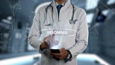 Insomnia Male Doctor Hologram Illness Word
