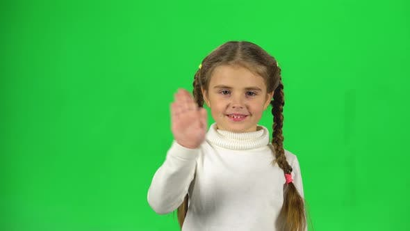 Thumbnail for Girl with Two Pigtails Is Waving Hello and Inviting To Come Her on Green Background