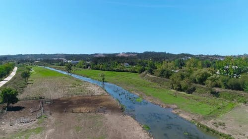 Aerial Drone View Beautiful Nature on Rural Village Countryside Landscape