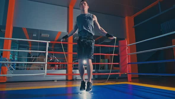 Thumbnail for Man Fighter Skipping at the Boxing Ring