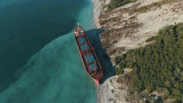 Thumbnail for Red Cargo Ship In Blue Sea Water