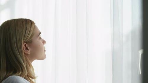 Morning Energy New Beginning Woman Open Curtain