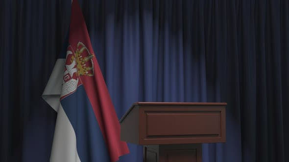 Thumbnail for National Flag of Serbia and Speaker Podium Tribune