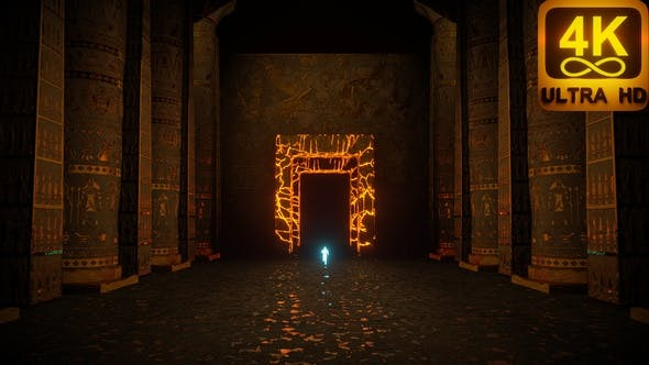 4K Animation Psychedelic Ancient Egypt Pyramid Ancient Symbols Ankh Seemless Vj Loop Hieroglyphs 3D