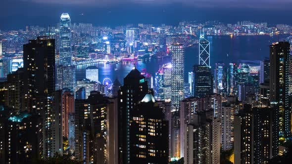 Cover Image for Timelapse of Hong Kong city at night