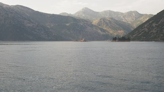 A Footage of St. George and Monastery on the Islands Near Perast Town in Kotor Bay