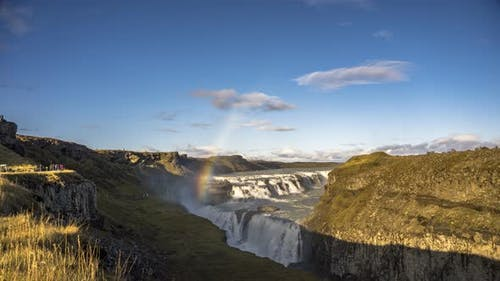 Timelapse of the Gullfoss Waterfall and the Olfusa River in Southwest Iceland