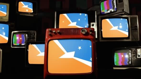Flag of Tierra Del Fuego, Argentina, and Retro TVs.