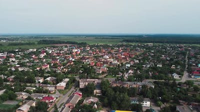 Aerial View of Suburb of European City