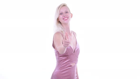 Thumbnail for Happy Young Beautiful Blonde Woman Pointing at Camera
