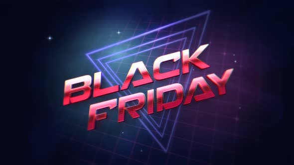 Animation intro text Black Friday and retro abstract triangles, retro background