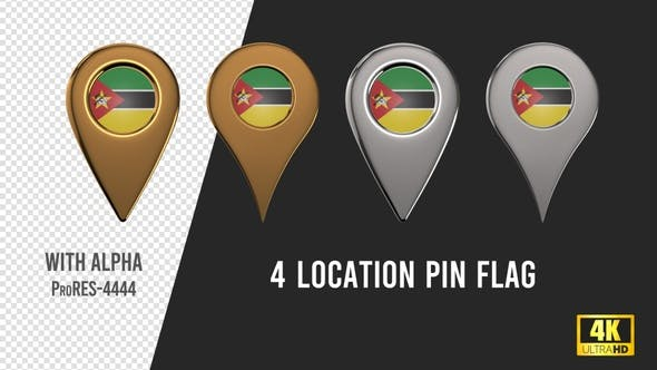 Mozambique Flag Location Pins Silver And Gold