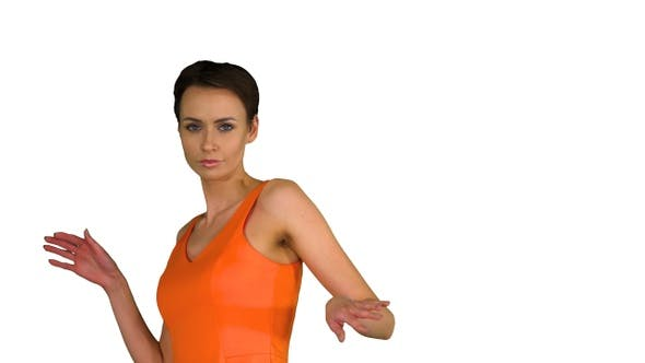 Thumbnail for Short-haircutted pretty woman dancing in orange sundress