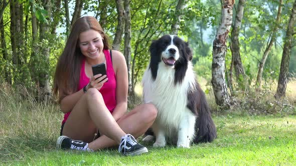 Thumbnail for A Young Woman Shows Pictures on a Smartphone To a Border Collie While Sitting on Grass in a Meadow