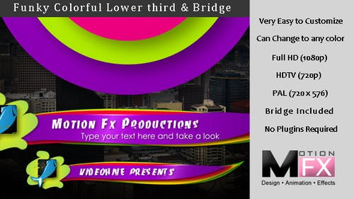 Funky colorful Lower third & Bridge